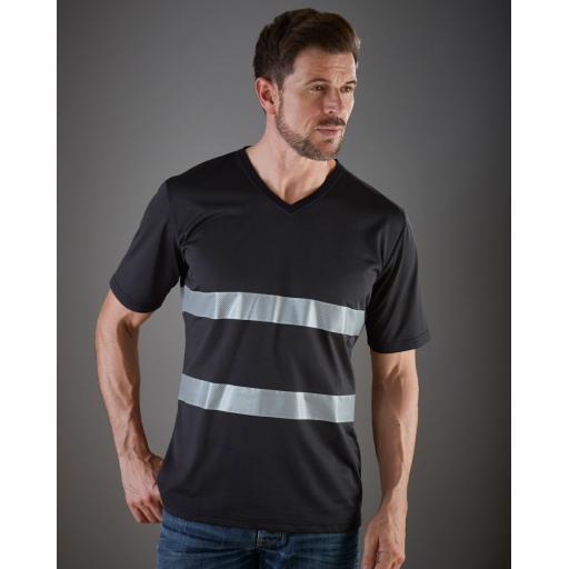 Hi-Vis Top Cool Weave V-Neck T-Shirt