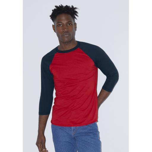 Unisex Poly-Cotton 3/4 Sleeve Raglan Tee