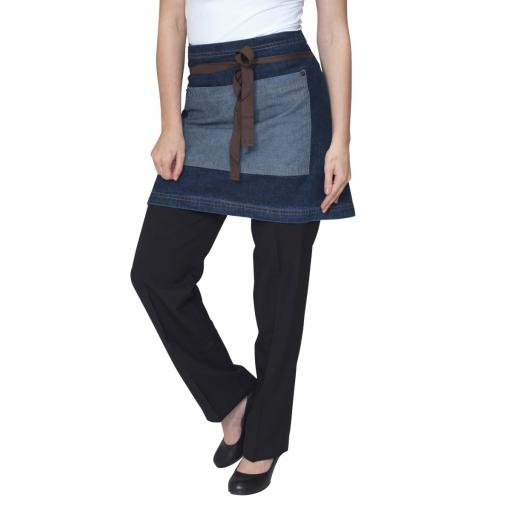 Washed Denim Contrast Waist Apron