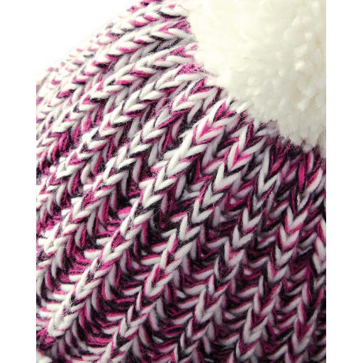 Twist-Knit Pom Pom Beanie