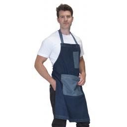 Washed Denim Bib Apron with Contrast Pockets