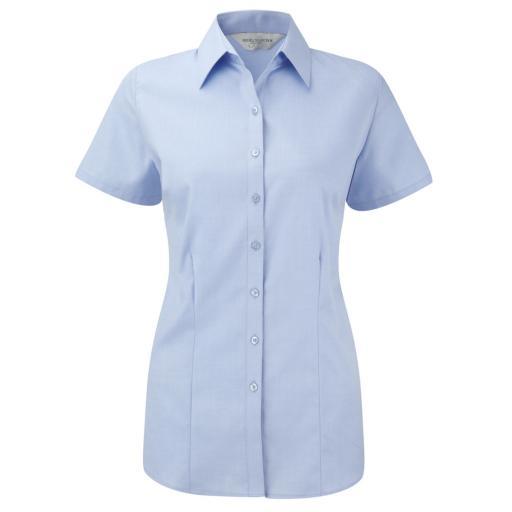 Ladies' Short Sleeve Herringbone Shirt
