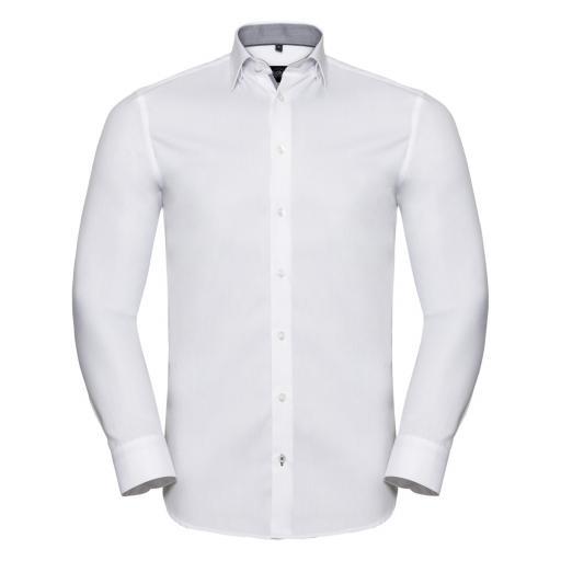 Men's Long Sleeve Tailored Contrast Herringbone Shirt†