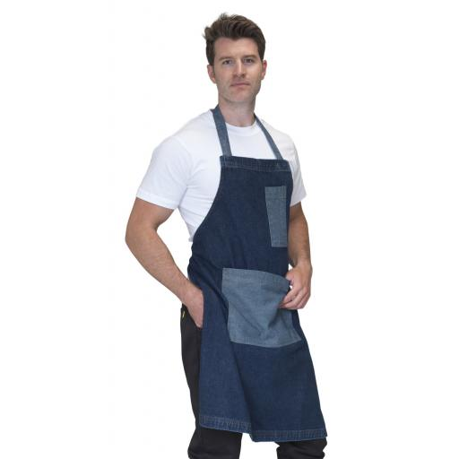 Washed Denim Bib Apron with Contrast Pockets