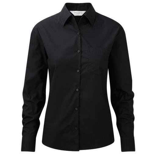 Ladies' Long Sleeve Pure Cotton Easy Care Poplin Shirt