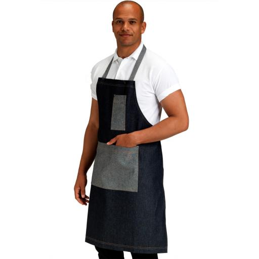 Denim Bib Apron with Contrasting Pocket