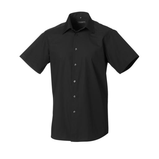 Men's Short Sleeve Polycotton Easy Care Tailored Poplin Shirt