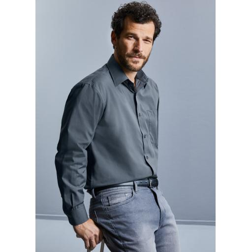 Men's Long Sleeve Polycotton Easy Care Poplin Shirt