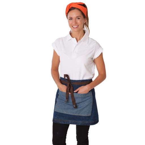 Denim Waist Apron with Contrasting Pocket