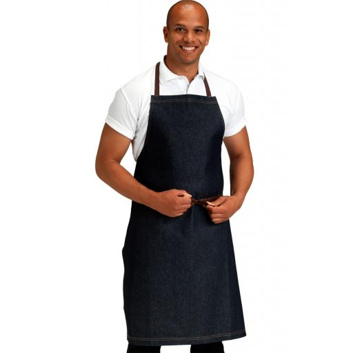 Denim Bib Apron with Contrast Stitching