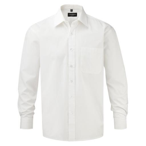 Men's Long Sleeve Pure Cotton Easy Care Poplin Shirt