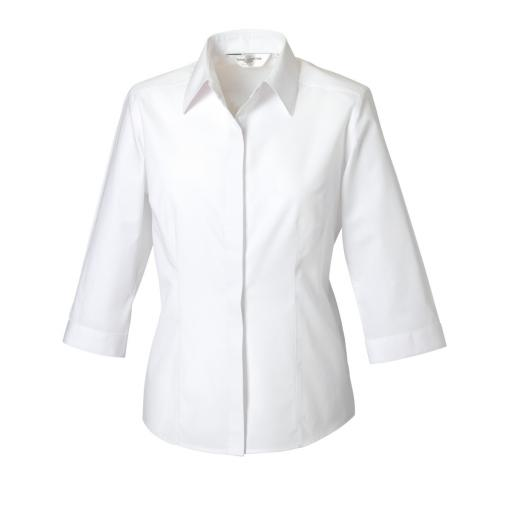 Ladies' 3/4 Sleeve Polycotton Easy Care Fitted Poplin Shirt